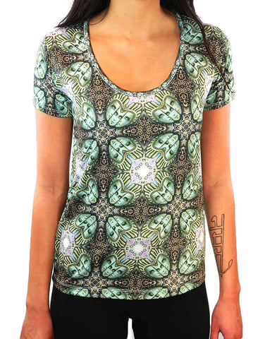 Temple of Gnosis Pattern SCOOP NECK T-SHIRT