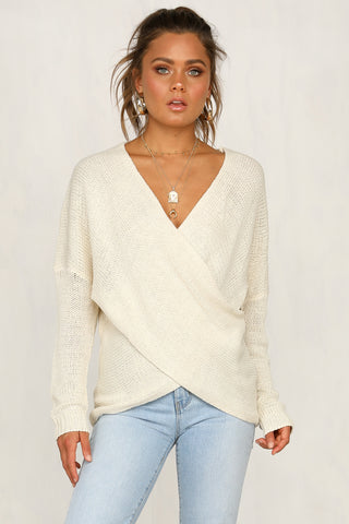 Double Cross Knit Top (Sand)