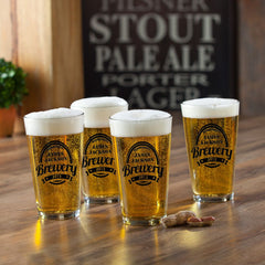 Personalized Beer Glasses - Pub Glasses - Set of 4 - 16 oz.-Brewery-