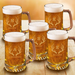 Personalized Groomsmen Monogram Beer Mugs Set of 5 - 25 oz.-Barware-JDS-Antler-
