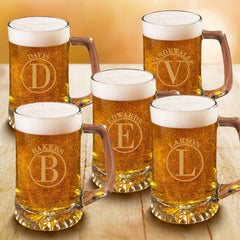 Personalized Groomsmen Monogram Beer Mugs Set of 5 - 25 oz.-Barware-JDS-Circle-