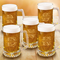 Personalized Groomsmen Monogram Beer Mugs Set of 5 - 25 oz.-Barware-JDS-Filigree-