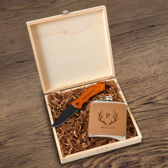 Hamilton Groomsmen Flask Gift Box Set-Antler-