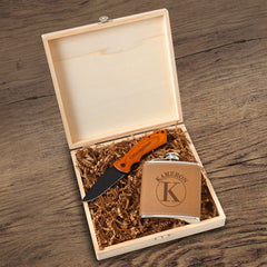 Hamilton Groomsmen Flask Gift Box Set-Circle-