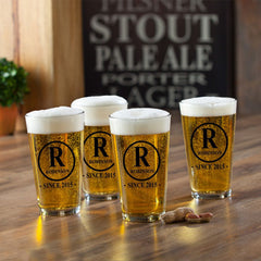 Personalized Beer Glasses - Pub Glasses - Set of 4 - 16 oz.-Initial-