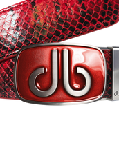 Red Snakeskin Leather Belt with Buckle