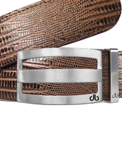 Brown Lizard Textured Leather Belt with buckle