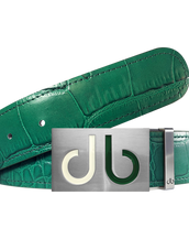 Green Crocodile Textured Leather Belt with Buckle