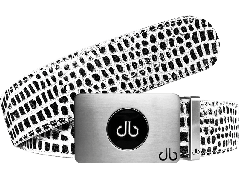 Ballmarker Black & White Crocodile Leather Texture Belt