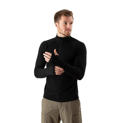 EDZ Mens Merino Wool Base Layer Zip Neck Top Black 200g