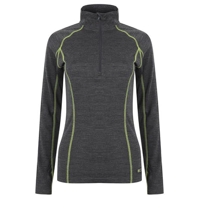 EDZ Womens Merino Wool Base Layer Zip Neck Top Graphite with Lime