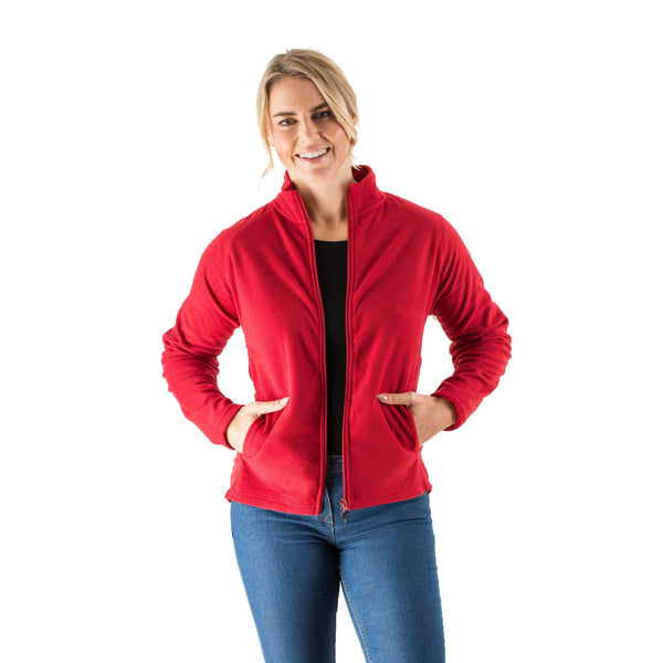 EDZ Womens Microfleece Midlayer Jacket Full Zip Red