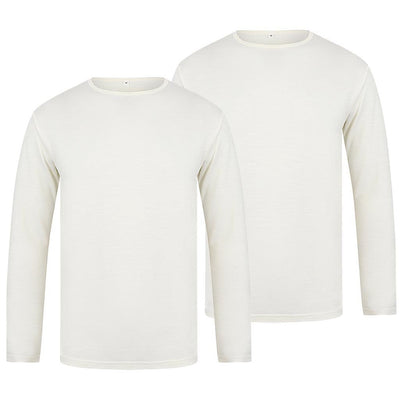 EDZ Merino Wool Thermal Underwear Long Sleeve Top Men's Natural White (2 Pack)