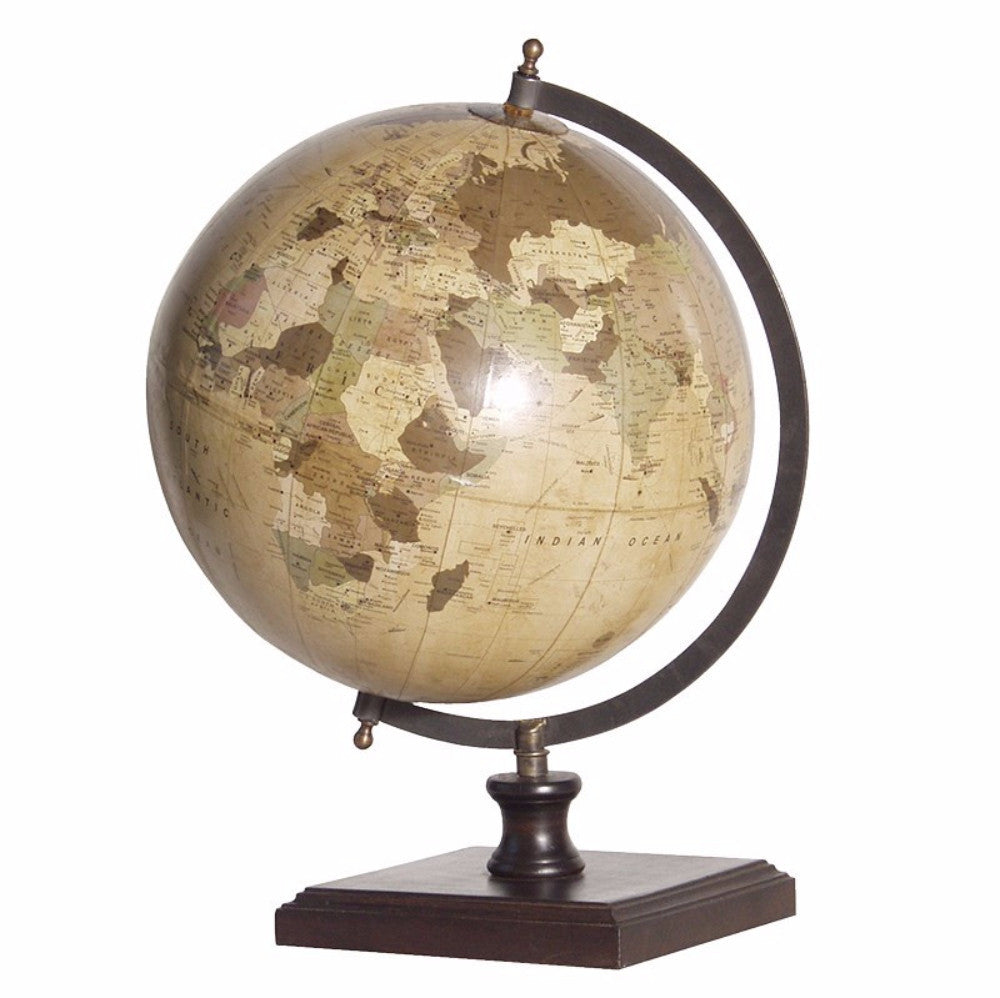 H: 450mm W: 300mm D: 280mm | World Globe On Wooden Base
