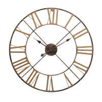 Antiqued Brass Outdoor Skeletal Wall Clock 70cm | Annie Mo's