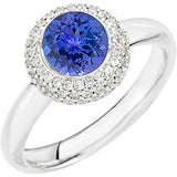 Chic Tanzanite Genuine Gemstone Ring at BitCoin Gems