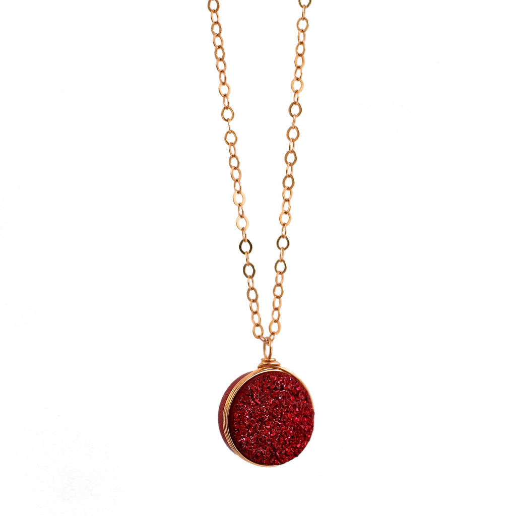 Nikita Necklace Cranberry Druzy
