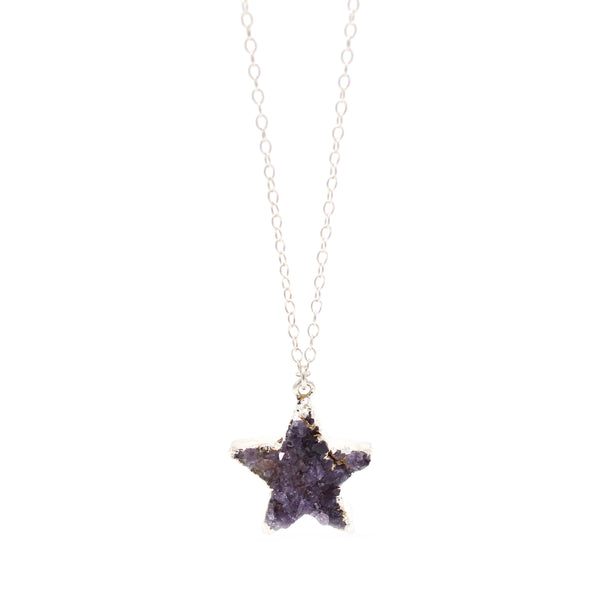 Star Druzy Necklace in Silver - One of a Kind (choose your own stone)