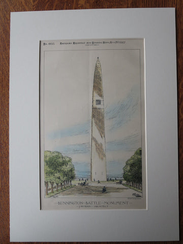 Bennington Battle Monument, 1887, Original Plan. J. PH Rinn, Architect