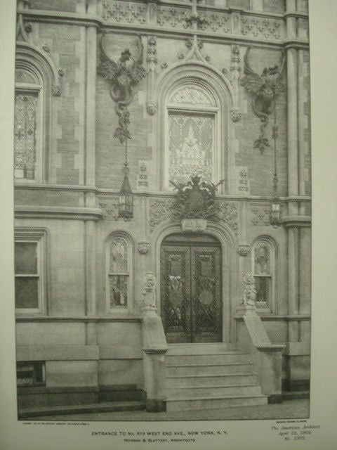 Entrance to No. 918 West End Avenue in New York NY, 1902. Horgan & Slattery. Photograph