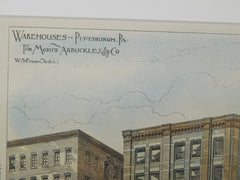 Warehouses for Messrs. Arbuckles & Co., Pittsburgh, PA, 1882. W. S. Fraser.