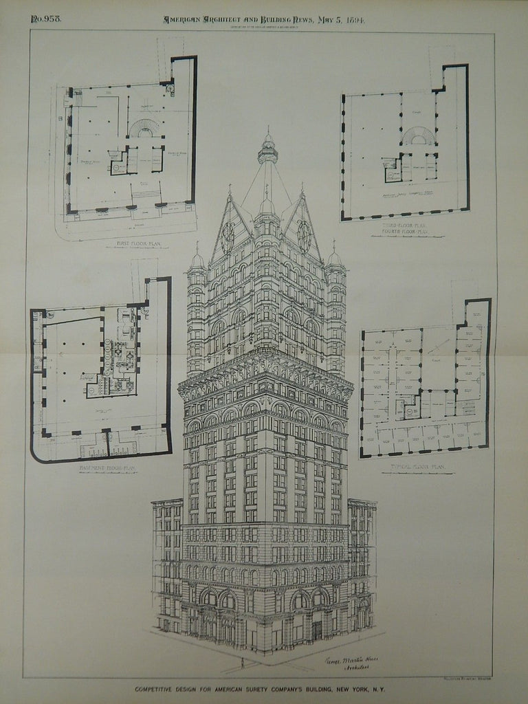 Competitive Design, American Surety Company's Building, New York, NY, 1894, Original Plan.  George Martin Huss.