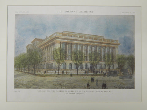 Building for the Chamber of Commerce, Washington, DC, 1919, Original Plan. Cass Gilbert.