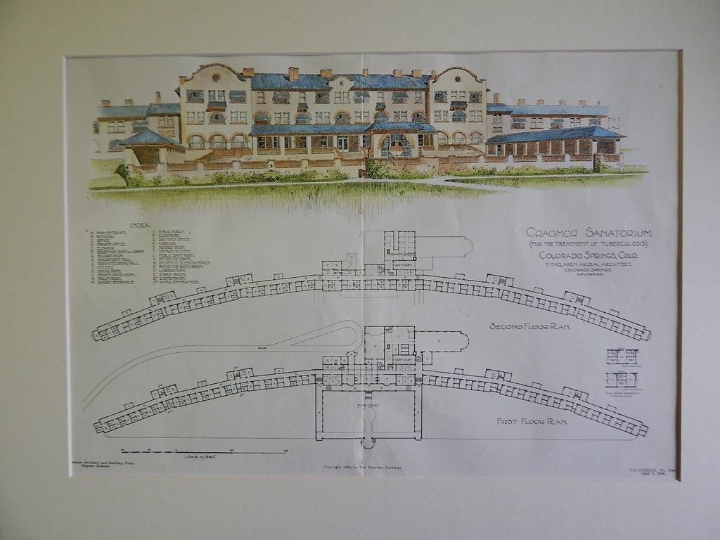 Cragmor Sanatorium/ U.of Colorado, Colorado Springs, CO, 1906, Original Plan. T. Maclaren.