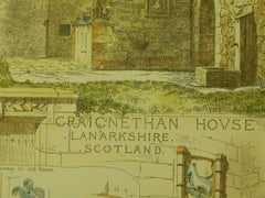 Craignethan House, Lanarkshire, Scotland, 1884, Original Plan.