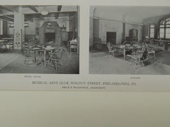 Interior, Musical Arts Club, Walnut Street, Philadelphia, PA, 1919, Lithograph. Price & McLanahan.