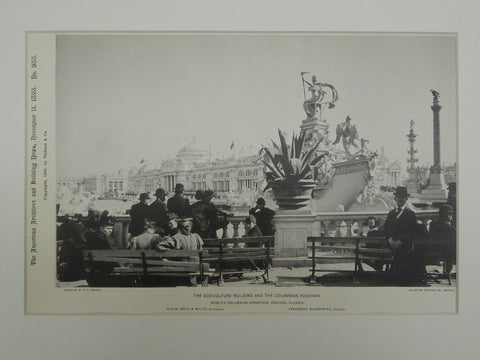 Agriculture Building & the Columbian Fountain, Chicago, IL, 1895, Lithograph. McKim, Mead & White.