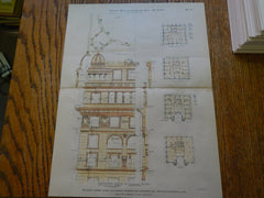 The Warren Apartments, Warren St., Boston, MA, 1886, Original Plan. Carl Fehmer.