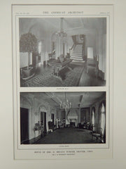 Room & Staircase, House of Mrs. D. Bryant Turner, Denver, CO, 1914, Lithograph. J.B. Benedict.