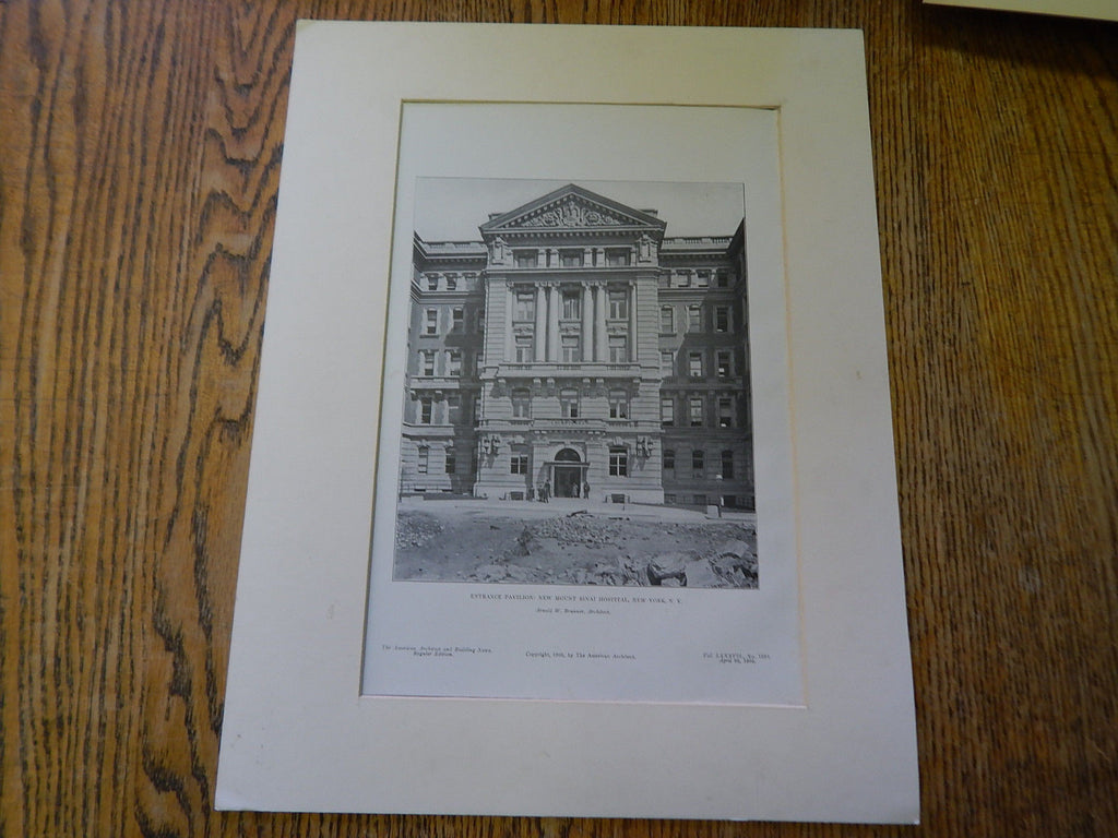 Entrance Pavilion:New Mount Sinai Hospital,New York,1905,Lithograph. Brunner.
