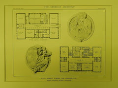 Fine Arts Building Floors, State Normal School, Los Angeles, CA, 1914, Original Plan. Allison & Allison