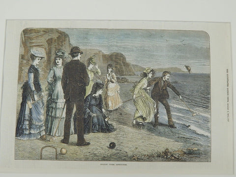 """Croquet Under Difficulties"", Illustrated London New, 1871. Original Illustration."