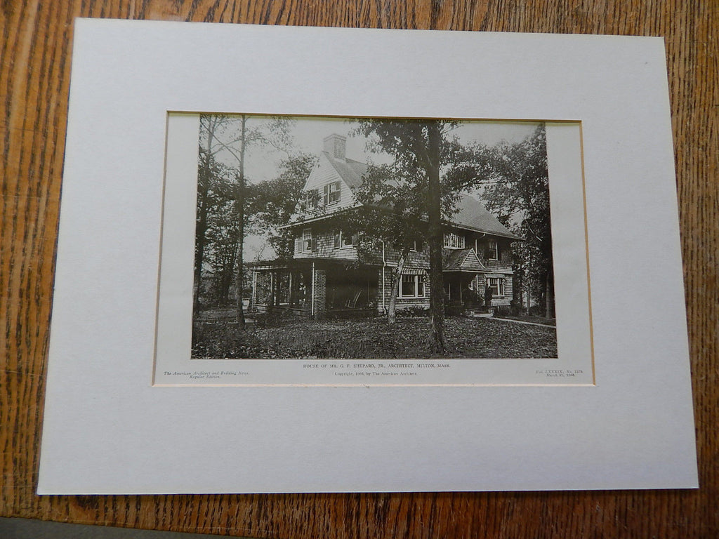 House of Mr. G.F. Shepard, Jr., Milton, MA, 1906. Lithograph