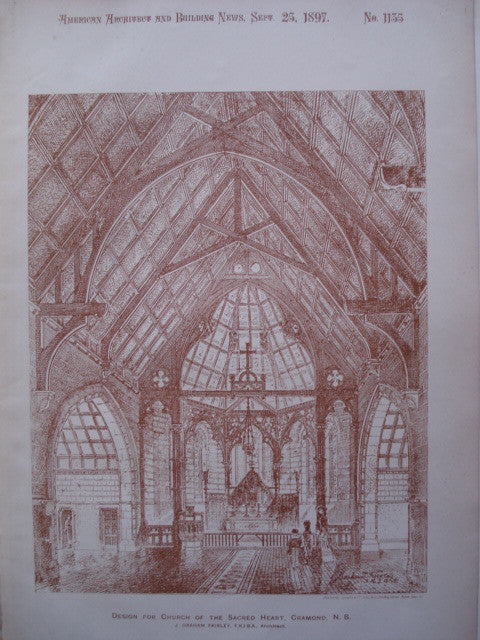 Design for Church of the Sacred Heart , Cramond, Edinburgh, Scotland, UK, 1897, J. Graham Fairley