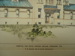 Hospital for the State Orphan Asylum, Corsicana, TX, 1898, F. S. Glover and G. Allen