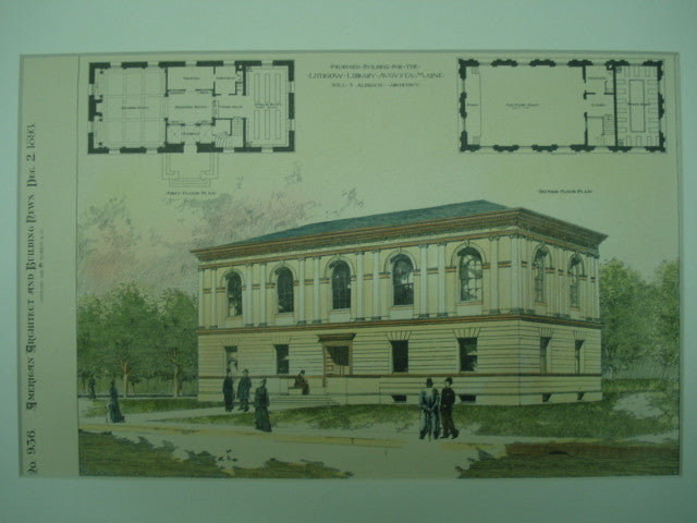 Proposed Building for the Lithgow Library , Augusta, ME, 1893, Will S. Aldrich