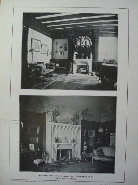 Interiors of the House of J.C. Hooe, Esq. , Washington, DC, 1904, Totten & Rogers