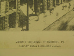 Masonic [Freemasonry] Building, Pittsburgh, PA, 1889, Shepley, Rutan & Coolidge