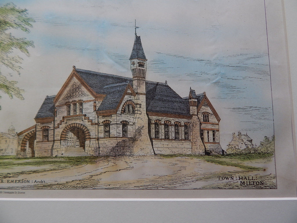 Town Hall, Milton, MA 1878. Original Plan. W.R. Emerson.