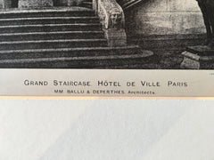 Hotel De Ville Grand Staircase, Paris, 1896, Lithograph. Ballu & Deperthes