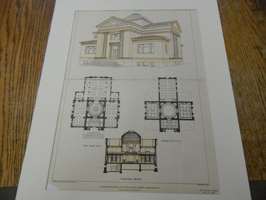 Carnegie Library, Burlington, VT, 1902. Original Plan. Hand Colored. Wales & Holt.