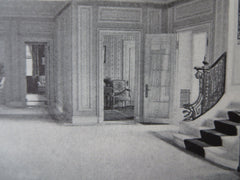 Interior, Philip Dexter House, Manchester, MA, 1911, Litho. C. Cogswell