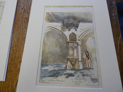 Pulpit, St. Peter's Church, Shorwell, UK 1896. Original Plan. Hand-colored.
