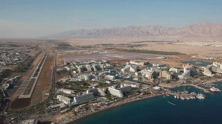 AE_013 Aerial helicopter footage of Eilat: city north of hotels