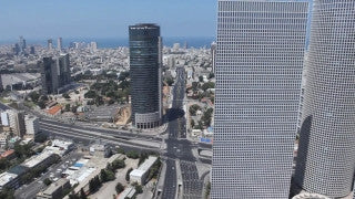 AT_041N Aerial helicopter footage of Tel Aviv: Jaffa from the west
