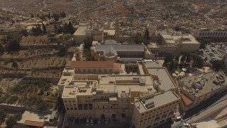 DB4K_008 - High altitude 4K aerial view of the Bethlehem Church of Nativity and Manger Square, Palestine